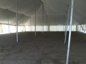 inside large rented tent
